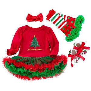 4pcs Newborn Baby Infant Girls 1st Christmas Headband Tutu Dress Costume Outfits