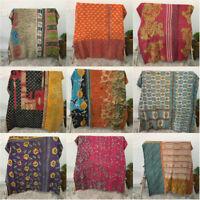 Indian Vintage Kantha Quilt Reversible Blanket Bedding Bedspread Gudari Ralli
