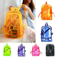 Women Men Backpack School Bag Teenager Girl Zipper Transparent Clear Handbag New
