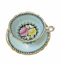 Paragon Blue Floral Teacup And Saucer Wide Mouth Double Warrant
