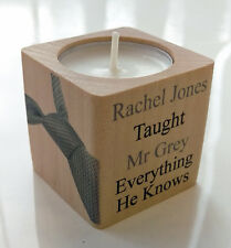 Beautiful Personalised 50 - Fifty Shades of Grey Wood Candle Gift Love Mr Grey