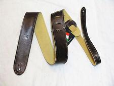PERRI'S Tooled Soft Italian Leather Mahogany brown GUITAR strap NEW