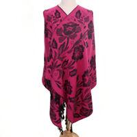 Grand Châle - Pashmina - Fuchsia  Floral Foulard - Etole 180 X 70