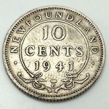 1941 C Newfoundland Canada 10 Ten Cents Dime Canadian Circulated D574