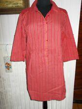 Chemisier long tunique  coton rayé rouge TERRE DE MARINS T.4 40/42 manches 3/4