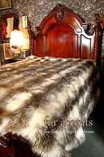 Faux Fur Bedspread Gray Stripe Wolf Shag 96' x 110'' King Size Throw Blanket
