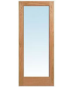 1 Lite Red Oak Clear Tempered Glass Stain Grade Solid Interior Wood French Doors