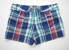 Banana Republic Ryan Fit Button Extended Tab Blue Plaid Shorts Sz 6 NWT