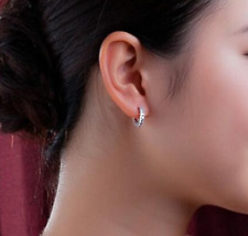 925 Sterling Silver Earrings Sparkling Single Row Cubic Zircon Hoop Earrings CZ