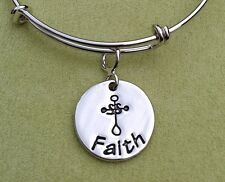 Simply Saved Core Rhodium Finish Wire Expandable Bangle - FAITH
