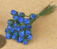 1:12 Scale Bunch Of 25 Dark Blue Paper Rose Buds Flowers Dolls House Miniature