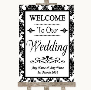 Wedding Sign Poster Print Black & White Damask Welcome To Our Wedding