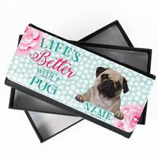 Personalised Ladies Purse PUG DOG Long Coin Card Wallet Womens Gift KPL33