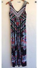 Style & Co Maxi Dress Sleeveless Stretchy Boho Floral Bling Multi-Color Medium