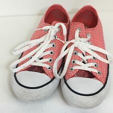 Converse All Star Women Size 7 Coral White Pattern Great Condition #555855F