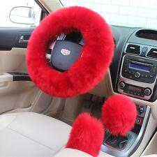 3pcs largo de invierno de felpa cubierta rueda de lana coche Handbrake Rojo Xmas