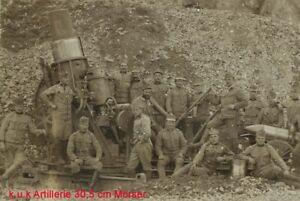 K.u.k Foto Artillerie Geschütz 30,5 cm Mörser 1wk pre ww1 kuk artillery mortar