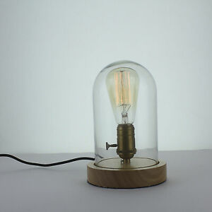 Vintage Industrial Retro Glass Wooden Desk Table Lamp Light Edison Dimmer Switch