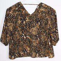 Cato Women's Blouse Animal Print Long Sleeve Semi Sheer V-Neck Size 22/24W