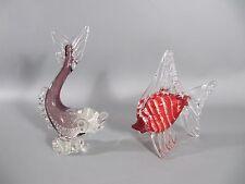 2 Murano Glas Fisch -  murano art glass - 60er Jahre mit Silberstaub