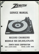 Factory Zenith 169-381 445 474 475 Record Player Phono Turntable Service Manual
