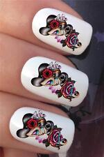 I trasferimenti di acqua per unghie Giorno dei Morti Sugar Skull Tattoo Lady Decalcomanie Sticker * 647