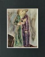 """Marc Chagall """"Moses And Aaron"""" Matted Offset Color Lithograph 1973"""