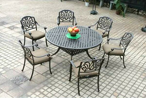 Elisabeth patio dining round table set 7 piece cast aluminum outdoor furniture.