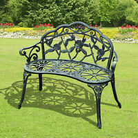 Outsunny Garden Furniture Bench Patio Chair Deck Cast Aluminum Metal Love Seat
