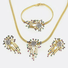 Abstract 1970s Ruby Sapphire Emerald and Diamond Jewellery Set 18ct Yellow Gold