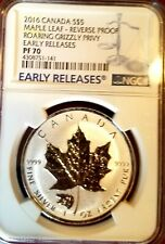 2016 Reverse Proof Canadian Silver Maple Leaf Grizzly Privy Graded NGC PF70 Rare