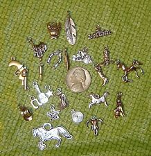 23pcs Differnt Western Silver Charms & Pendants Horse, Feather, Boot, Gun, Cow