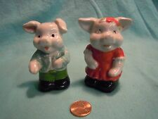 Vintage White Young Dressed Up Pig Couple Salt and Pepper Shakers Porcelain   47