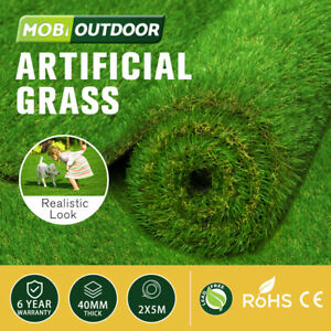 MOBI OUTDOOR Artificial Grass Synthetic Fake Lawn 2mx5m 40mm Turf Plastic Plant