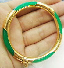 Emerald Green Jade Yellow Gold Plated Clasp Bangle Bracelet