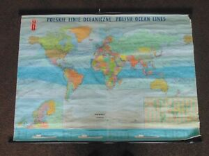 Galls projection of the world cloth Authentic Polish Ocean lines nautical map