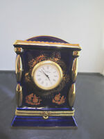 Limoges Porcelain Cobalt Blue trimmed in 22K gold Clock and a box