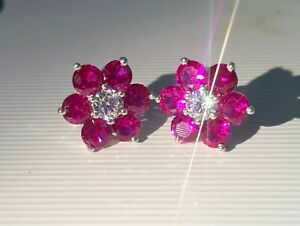 3.20Ct Round Red Ruby Diamond Flower Push Back Stud Earrings 14K White Gold Over