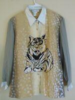 Diane Gilman Animal Print 100% Silk Blouse Women's Size 1X Tiger Cat Button Up