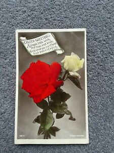 1908 J Beagles Easter Postcard, Roses With Verse No 980.V