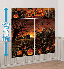 HAUNTED CORNFIELD Scene Setter Halloween party wall decoration kit pumpkins