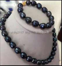 Pretty! 9-10MM Black Freshwater Pearl Necklace Bracelet Set
