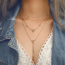Multi-layers Boho Pentagram Necklaces Clavicle Chain Crystal Pendants Jewelry