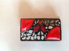 Edwardian Era filagree brooch w/ fluer de lis, coral glass, enamel embellishment
