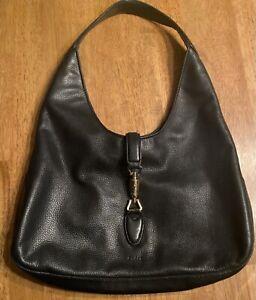 """GUCCI Soft Black Pebbled Leather """"Jackie"""" Hobo Shoulder Bag"""