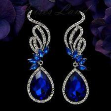Rhodium Plated Blue Crystal Rhinestone Chandelier Drop Dangle Earrings 8780 Prom