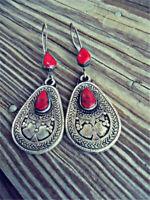 Vintage Woman 925 Silver Red Amber Stone Pear Cut Earrings Dangle Drop Hook
