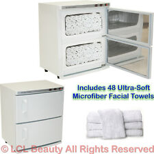 2 Cabinet Hot Towel Warmer UV Sterilizer with 48 Hand Towels Spa Salon Equipment