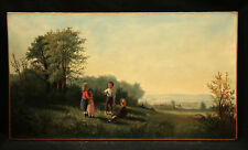 19th Century Antique Landscape Painting Children Playing with American Flag