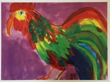 WALASSE TING RED ROOSTER 1992 Offset Lithograph 31 1/2 x 23 3/4